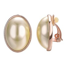 Yoursfs Clip On Earrings with Round Austrian Crystals 18k Rose Gold Plat... - $15.77