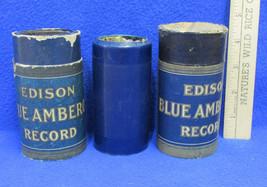 3 Vintage Cylinder Records Edison Blue Amber w/ Tube  Phonograph - $16.82