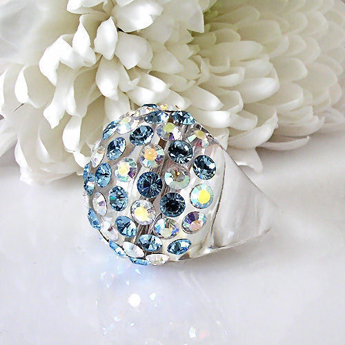 Clear Acrylic Domed Ring Numerous Blue & Rainbow Swarovski Elements Crystal Dome image 4