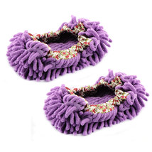 Dust Floor Cleaning Purple Microfiber Stretchy Cuff Foot Mop Slippers Shoes 2pcs image 2