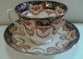 Royal Albert Crown China Teacup and Saucer Imari Style Cobalt Blue - $23.35
