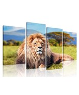 Natural art African Lion Canvas Poster Wild Animal Prints Art with Woode... - $50.00