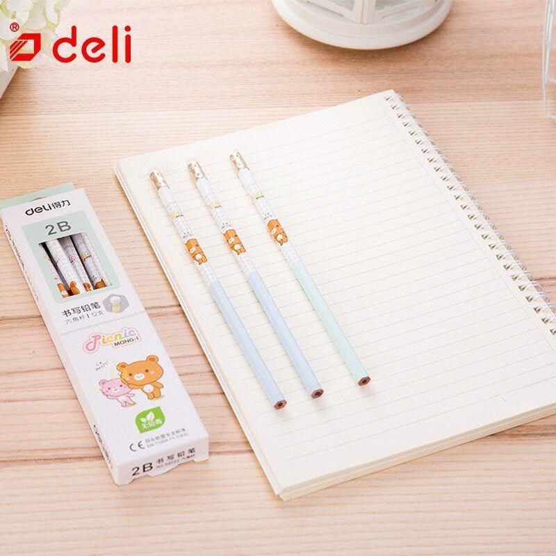 Deli® Pencil 12Pcs Cute Carbon Black Pencil Wood Standard 2B Pencils With Eraser image 5