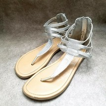 Place Big Girls   Size 5 Silver  Textile Thong Ankle Strap Sandals - $11.99