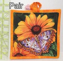 Pot Holders - Pair - Orange & Purple Butterflies on Bright Flowers - PHDR - $8.00