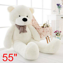55'' Big Teddy Bear White Plush Soft Toys Doll Only Cover Case No Filled... - $19.70