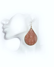 Brown Earrings, Statement Earrings, Paper Earrings, Decoupage Earrings, ... - $28.00