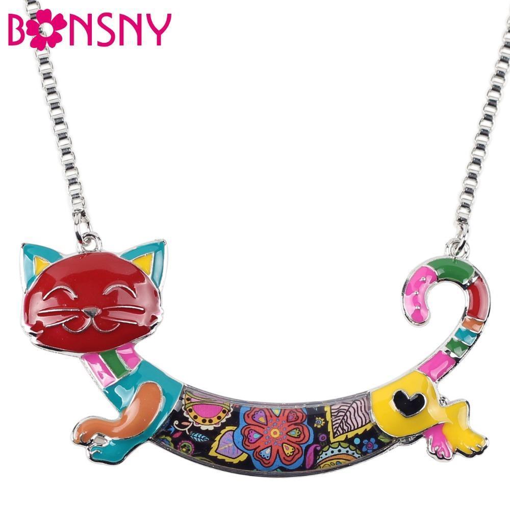 Bonsny Cute Happy Enamel Ladies Cat Themed Necklace / Choker