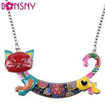Bonsny Cute Happy Enamel Ladies Cat Themed Necklace / Choker image 1