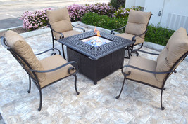 Patio Fire Pit 5 Piece Chat Set Propane table outdoor Santa Anita Swivels Chairs image 2