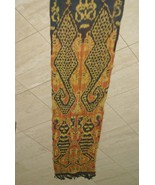 Hand spun Hand woven Old Sumba Hinggi Warp Ikat Tapestry Alligator Motif... - $142.49
