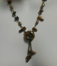 Avon Signed NA Tiger's Eye Necklace & 2 Pair of Earrings  - $16.82