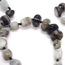 Long Necklace 120 cm, 1.2 Metres, White Agate Black Grey Banded image 7