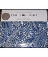 Tommy Hilfiger Blue and Navy Paisley on White Sheet Set Queen - $77.00