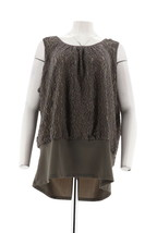Kathleen Kirkwood Undercover Agent Lace Overlay Cami Mink Grey 3X NEW A2... - $20.77
