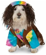 New HIPPIE Tie Dye DOG COSTUME Rubie's Cute Small Pet Outfit w/ Wig & Ne... - $23.36