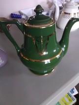 Vintage Green Teapopt USA - Gold Design and Trim - $11.91