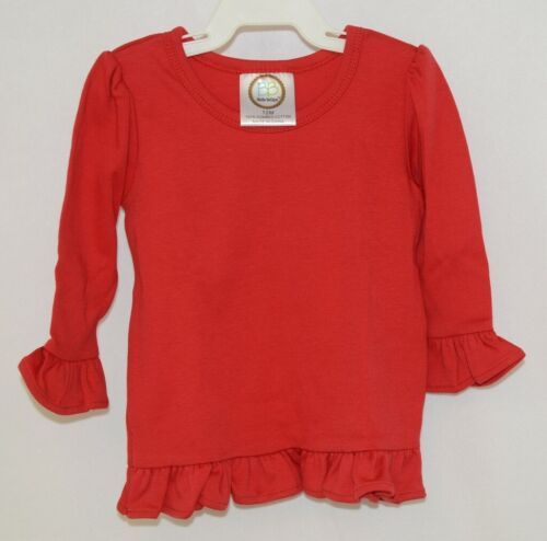 Blanks Boutique Girls Red Long Sleeve Ruffle Tee Shirt Size 12M