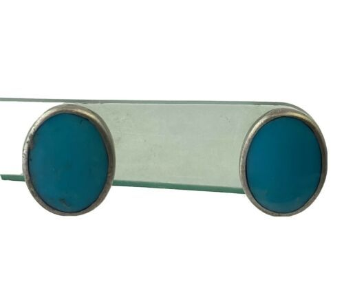Vintage Sterling Silver and Turquoise Oval Stud Earrings - $18.99