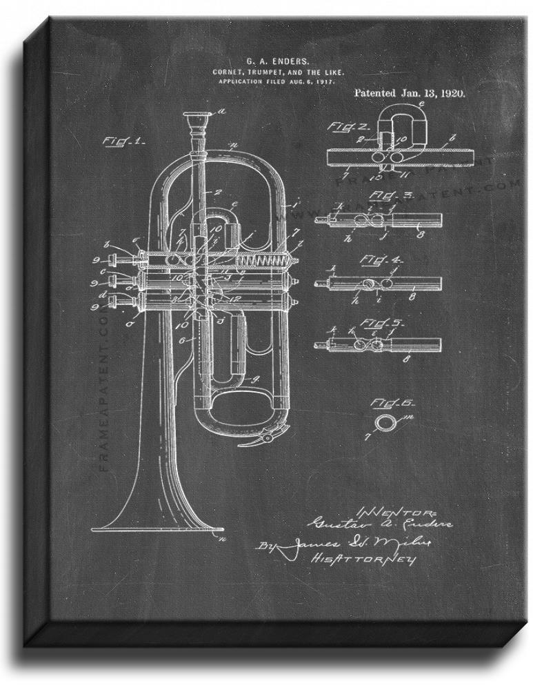 Primary image for Cornet or Trumpet Patent Print Chalkboard on Canvas