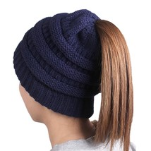 HonYea Knit Hat Warm Beanie Hat With Ponytail Hole For Women,Navy Blue - ₨813.66 INR