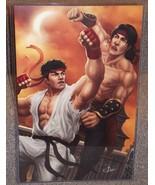 Mortal Kombat Liu Kang vs Ryu Glossy Art Print 11 x 17 In Hard Plastic S... - $24.99