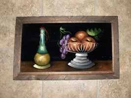 Vtg Black Velvet Painting Still Life Fruit Bowl Chianti Fiasco Bottle Wi... - $12.00