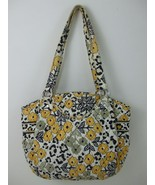 Vera Bradley Handbag Purse 100% Cotton Quilted Yellow Black Floral Large... - $14.95