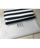 KUT From The Kloth Slim Black & White Striped Wallet card organizer New - $39.60