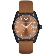 Emporio Armani AR6080 Sportivo Analog Brown Leather Strap Men's Watch - $183.98