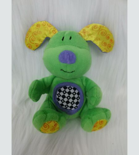 "Primary image for 6"" Kids II Puppy Dog Baby Lovey Rattle 8129 Green Yellow Crinkle Ears B215"