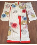 Ceremonial Kimono Embroidered Floral with Gold Bird Antique Collectible - $247.50