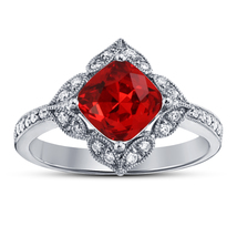 Cushion Cut Red Garnet Womens Engagement Ring 14k White Gold Finish 925 ... - £57.27 GBP