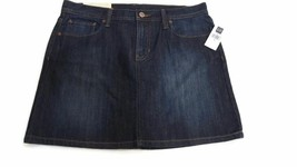 RETRO Womens jean denim skirt size 8 Gap  w/ Rustic Gold Fleur-de-Lis - $20.90