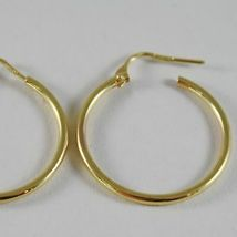 18K YELLOW GOLD EARRINGS CIRCLE HOOP 24 MM 0.94 INCHES DIAMETER MADE IN ITALY image 3
