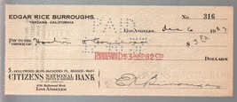 Edgar Rice Burroughs Original Hand Signed Check 6/6/1937-#316-autograph-FN - $212.19