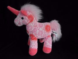 "Toys R Us Peach White Flower Floral Unicorn Plush Stuffed Animal 11"" Tal... - $24.45"