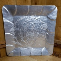 """Vintage Hand Forged, Everlast Aluminum 12"""" Square Tray with Cattails and... - $29.69"""