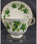 Queen Anne Green Ivy 8640 Tea Cup & Saucer Set English Bone China F678 - $34.95