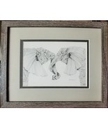 Two Elephants, Framed Matted Wildlife Art Print, Pen and Ink, Animal Art... - $30.00