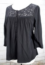 DELETTA ANTHROPOLOGIE Lace Shirt 3/4 Sleeve Tunic Top Floral  Size M Black - $37.62