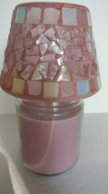 HOME INTERIORS HOMCO PINK HEART GLASS MOSAIC CANDLE TOPPER SHADE - $13.00