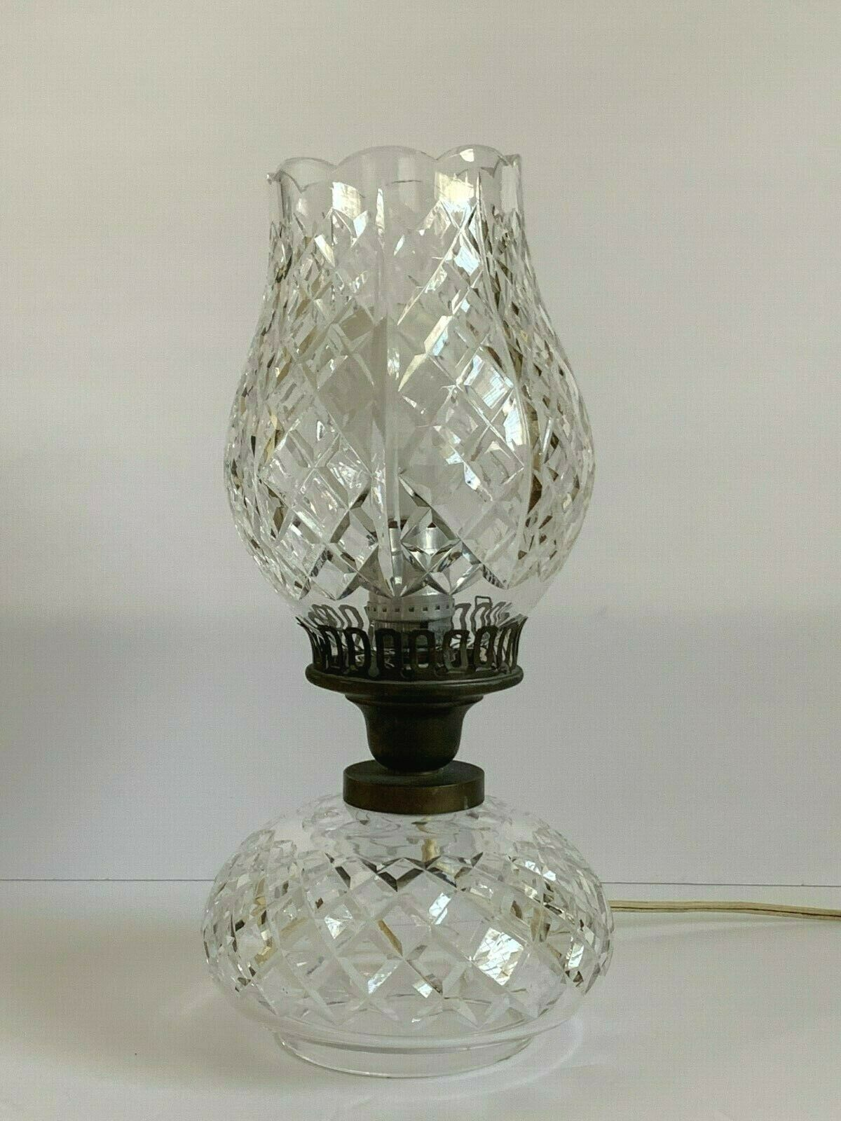 Primary image for Vintage Waterford Crystal Tulip Top Shaped Shade Hurricane Electrical Table Lamp