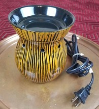 Retired SCENTSY Warmer Zingana Design Full Size Brown Black Striped - $37.01