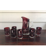 Ruby red pitcher 6 tumblers set press cut glass starburst moser style - $175.00