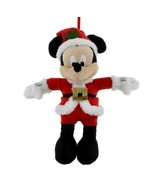disney parks christmas ornament santa mickey mouse plush new with tag - $22.02