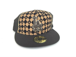 Los Angeles La Dodgers 59 Fifty Baseball Cap Hat Brown Checkered 7-1/8 - ₹1,295.71 INR