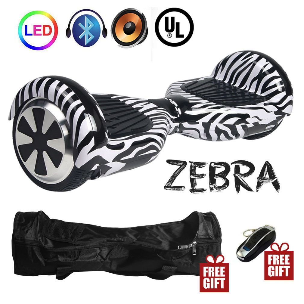 Zebra Stripes Hoverboard Bluetooth LED's Two Wheel Balance Scooter UL2272