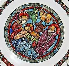 """""""Noël Vitrail"""" 2ēme:  Dans La Creche Commemorative Plate AA20-CP2325 Vintage D'a"""
