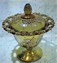 Vintage Indiana Amber Carnival Glass 'Harvest Grape' w/Lid & Lace Rim Ca... - $24.95